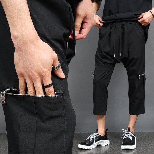 Zipper Cargo Pocket Low Crotch 3/4 Baggy Pants
