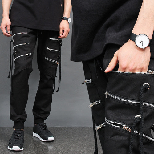 Techwear Triple Zipper Pocket Strap Slim Joggers 062