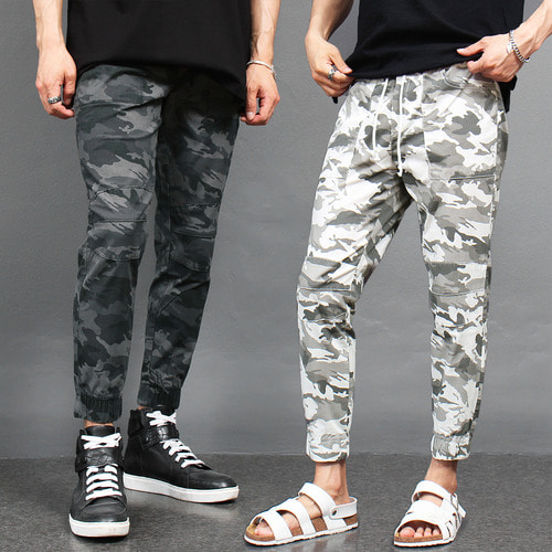 Military Camouflage Waistband Slim Jogger Pants 068
