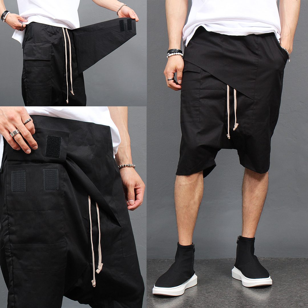 Low Crotch Diagonal Cover Style Short Sweatpants 010