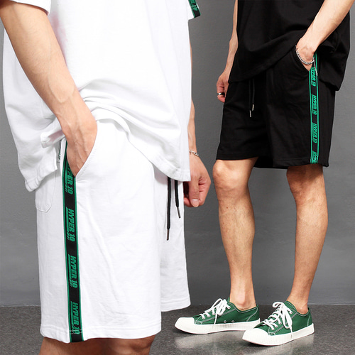 Contrast Side Logo Line Sportive Short Sweatpants 028