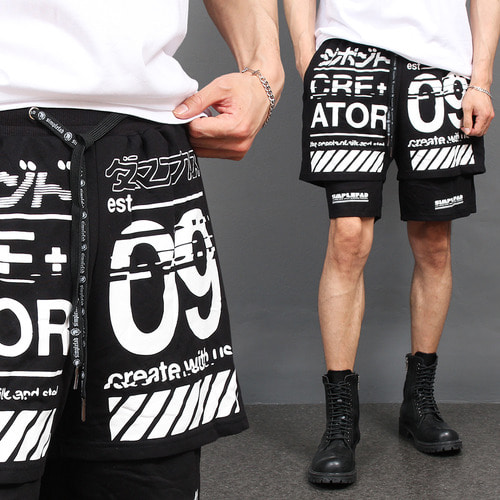 Double Layered Graphic Printing Short Sweatpants 031