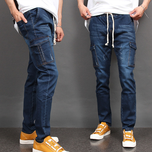 Cargo Pocket Waistband Slim Fit Denim Pants 075