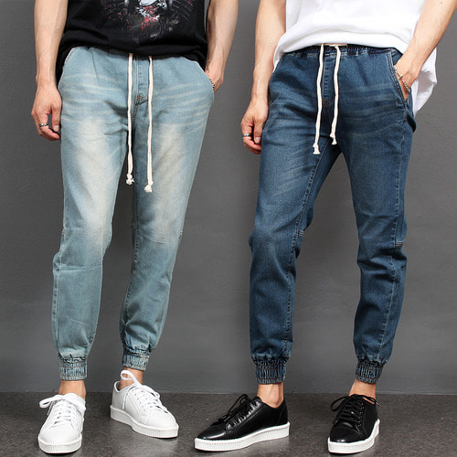 Elasticized Waistband Slim Fit Denim Jogger Pants 091