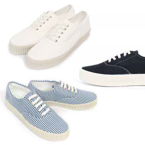 Color Canvas Stripe Lace Up Sneakers 012