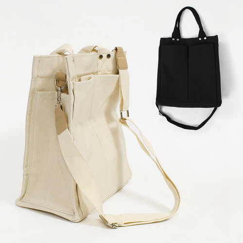 Canvas Pocket Shoulder Tote Bag 005