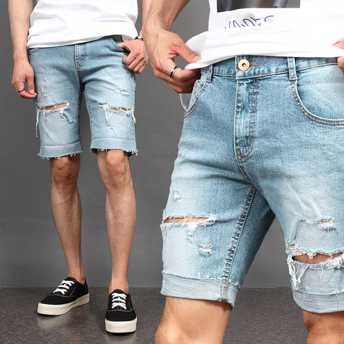 Vintage Distressed Cut Off Denim Shorts 034