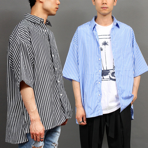 Unbalanced Long Back Hem Striped Boxy Short Sleeve Shirt 040