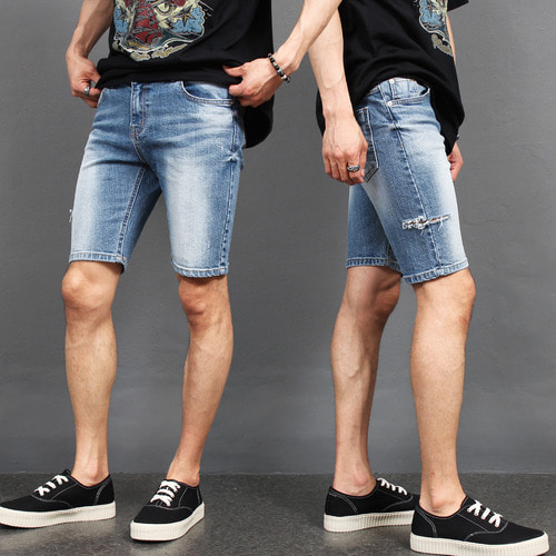 Vintage Distressed Side Cut Slim Fit Denim Shorts 040
