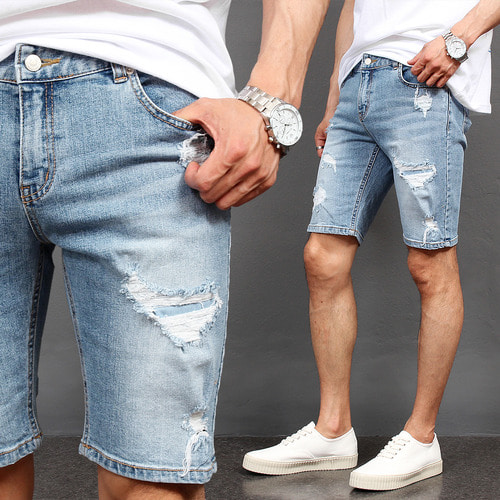 Vintage Distressed Faded Slim Fit Denim Shorts 041