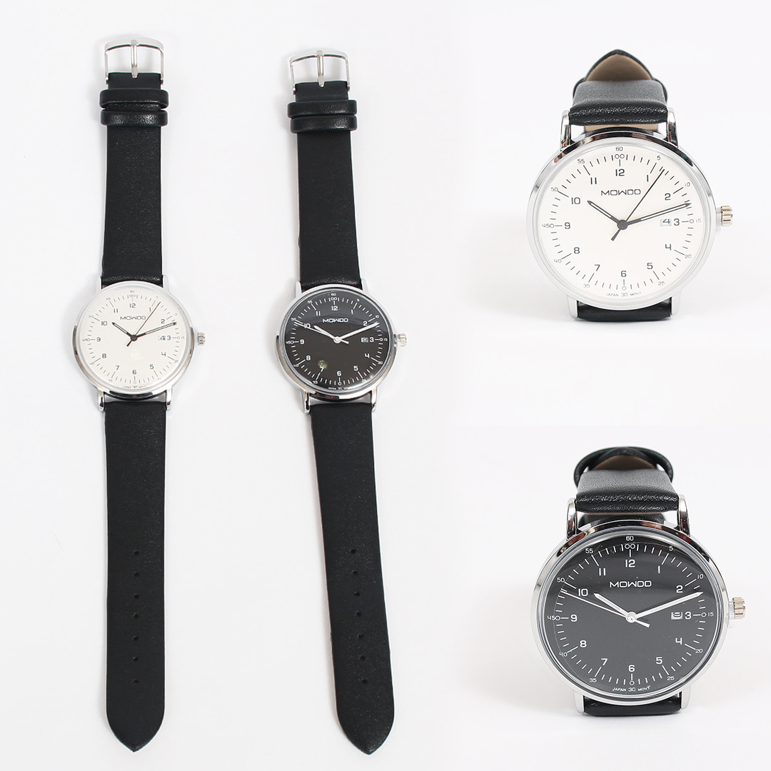 Contrast Black White Round Leather Strap Watch 019