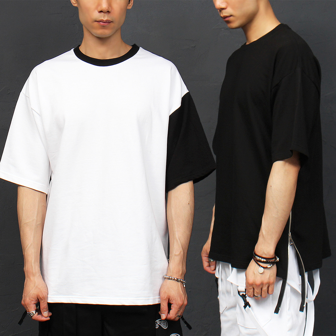 Zippered Split Side Black White Short Sleeve Tee 306