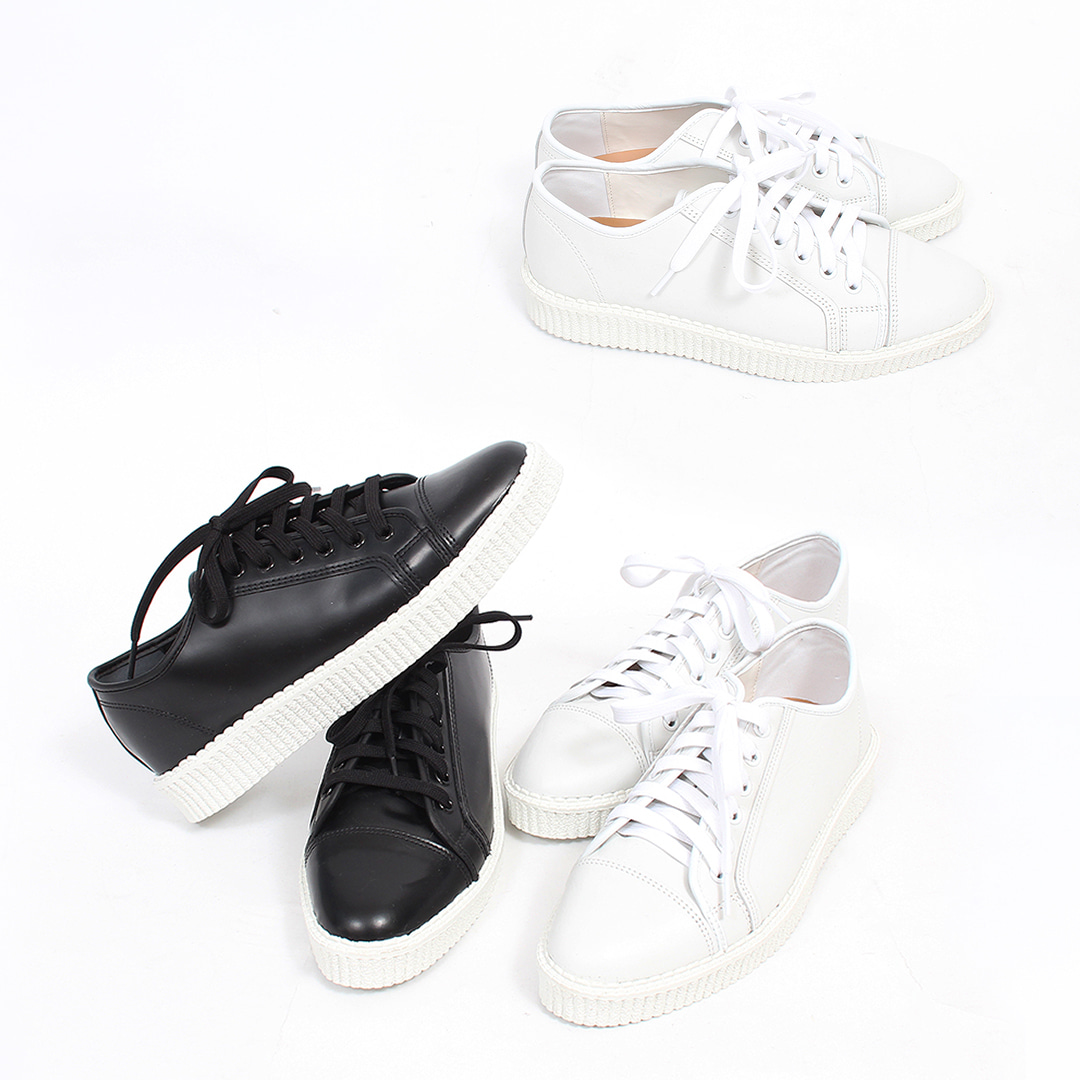 Cowhide leather Platform Lace Up Sneakers 012