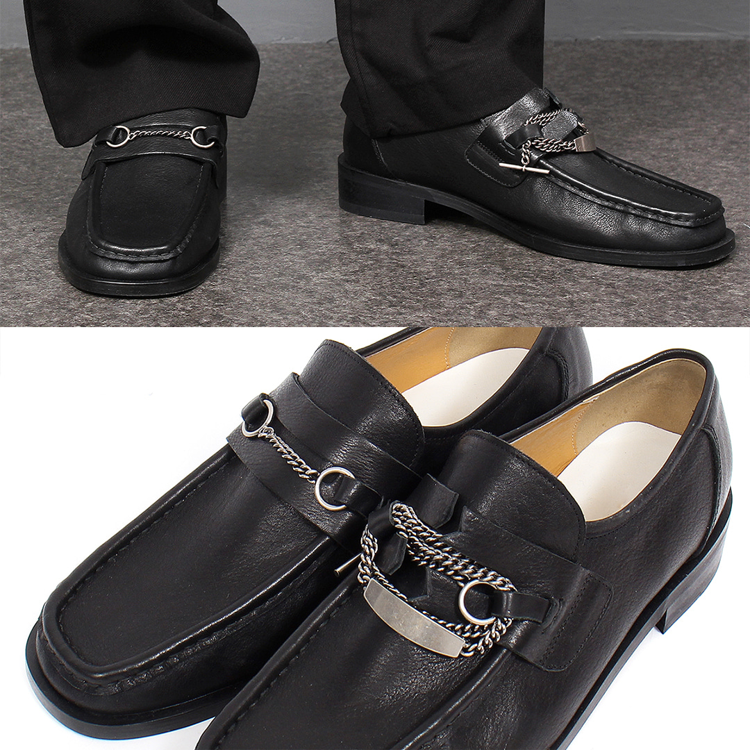 Chain Styling Cowhide Leather Handmade Horsebit Loafers 002