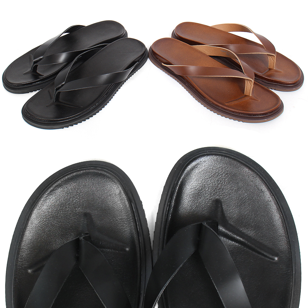 Cowhide Leather Basic Flip Flops 003