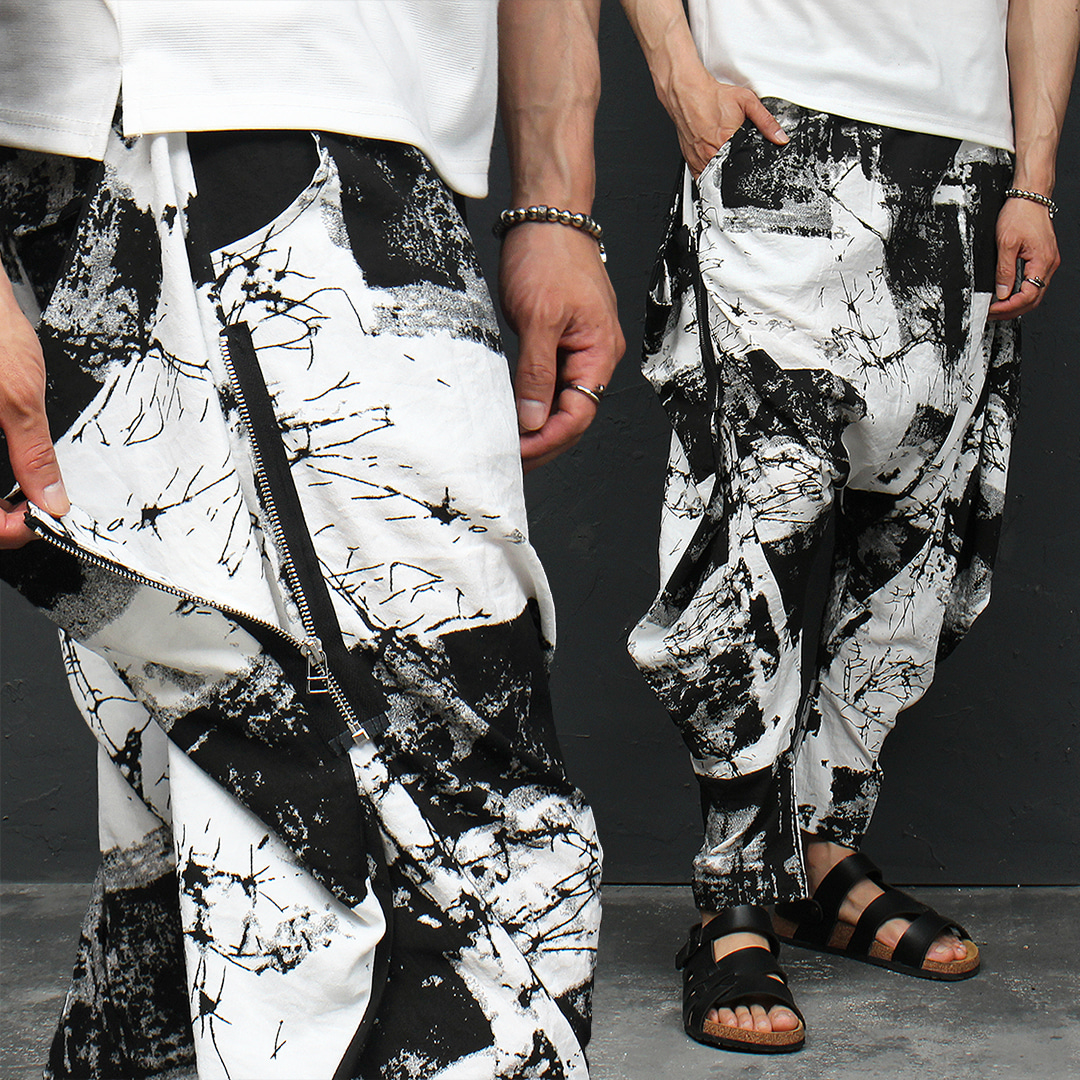 Avant garde Black White Zipper Side Baggy Pants 008