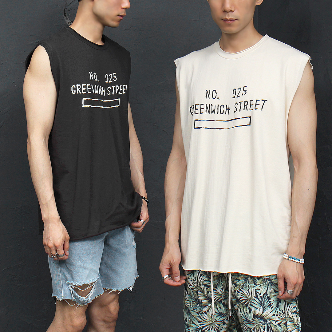 Vintage Loose Fit Logo Printing Sleeveless Tank 015