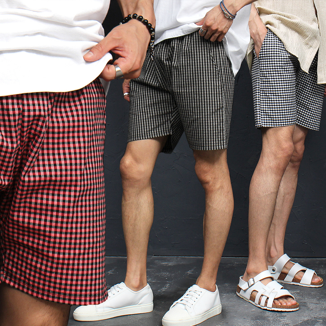 Elastic Waist Checkered Pattern Summer Shorts 050