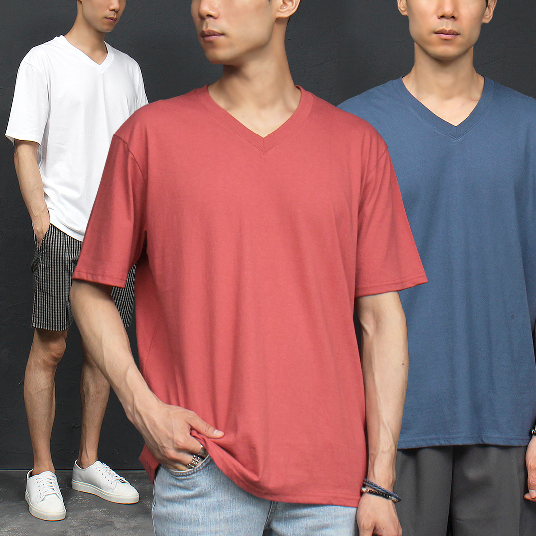 V Neck Color Boxy Short Sleeve Tee 318