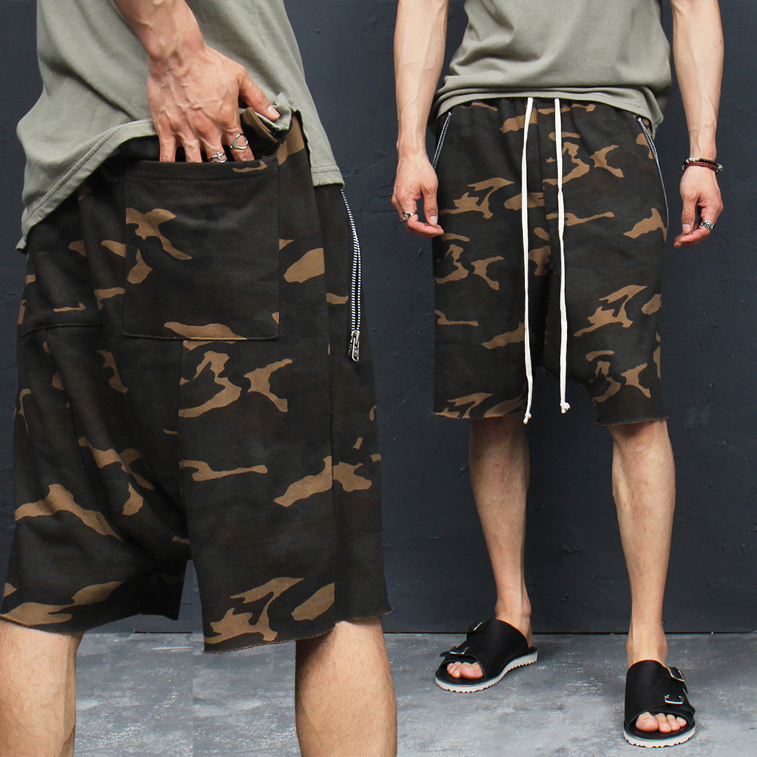 Camouflage Zipper Pocket Low Crotch Short Sweatpants 053