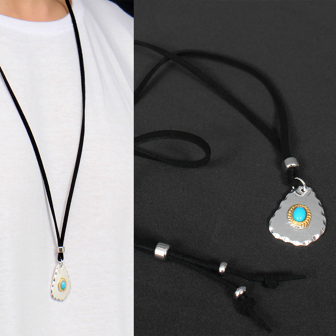 Fried Egg Design Turquoise Natural Stone Strap Necklace N100