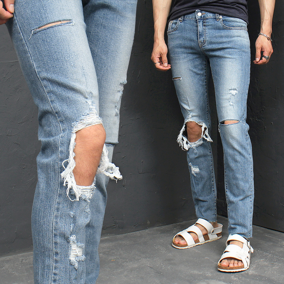 Distressed Cut Knee Open Destroyed Summer Blue Slim Jeans 081