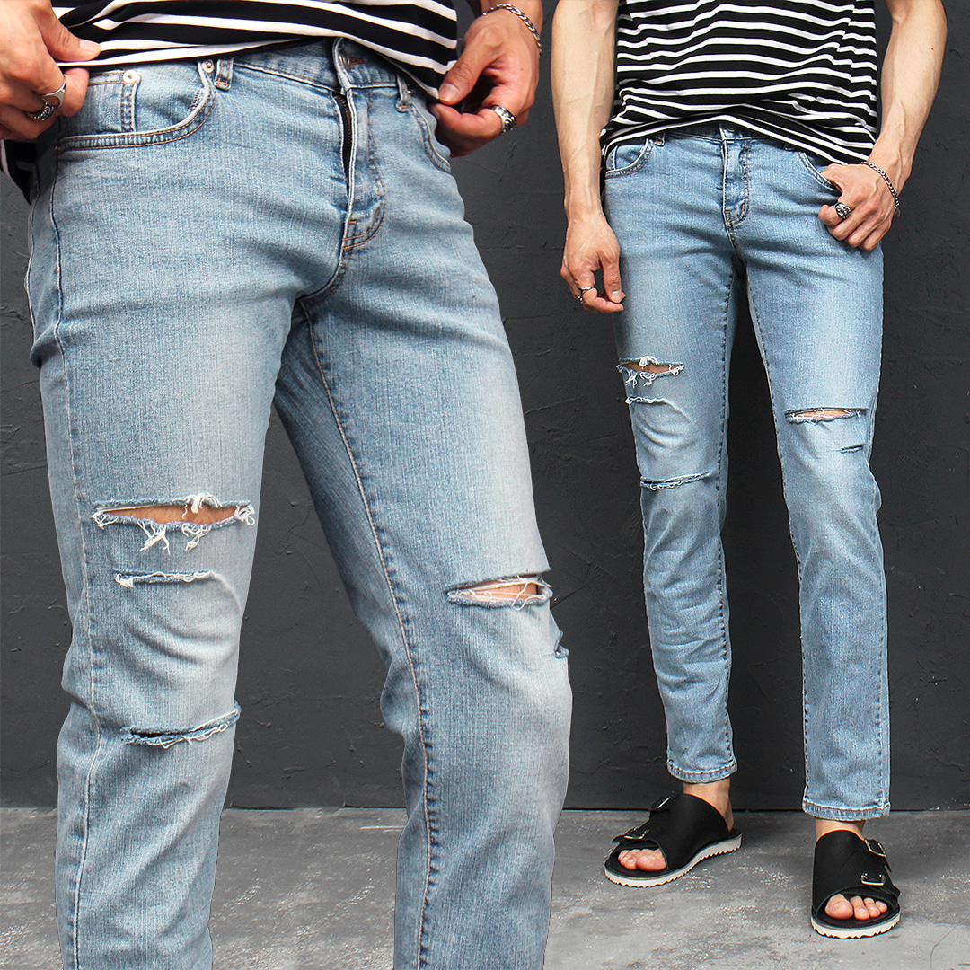 Distressed Cut Summer Blue Slim Jeans 080
