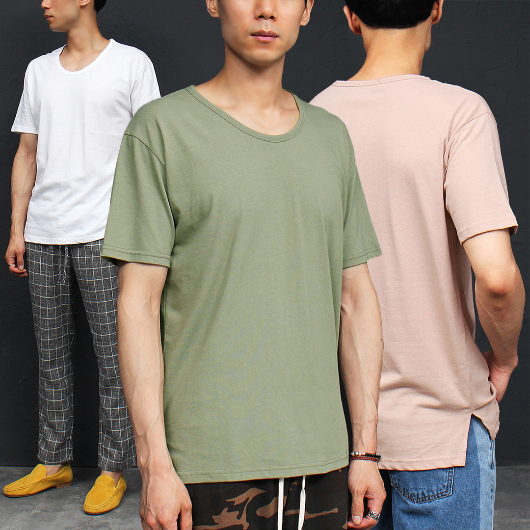 Crew Neck Split Side Color Short Sleeve Tee 321