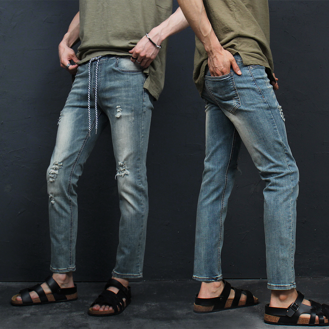 Elasticized Waistband Vintage Slim Fit Denim Pants 083