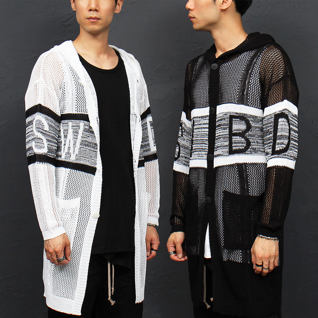 See Through Long Knit Button Up Hoodie 012