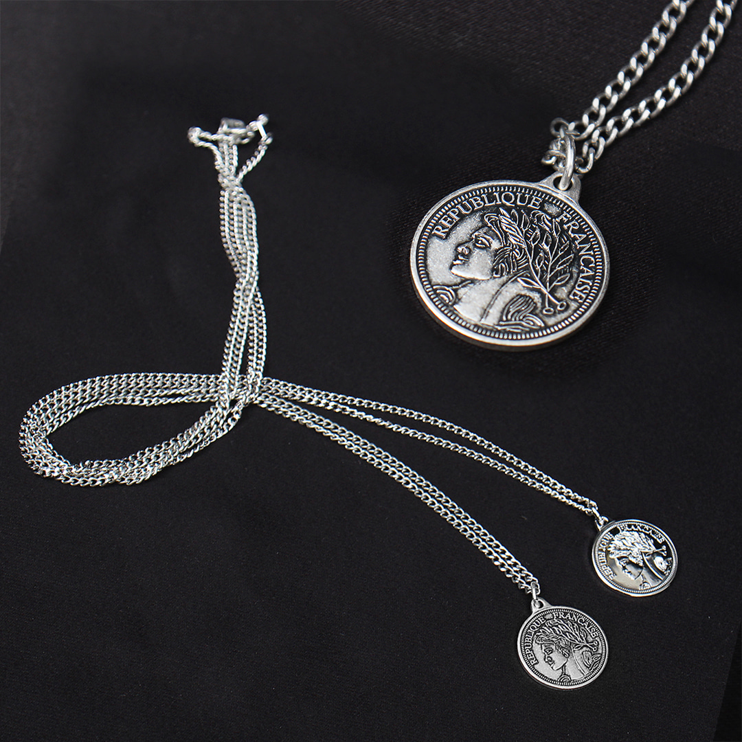 French Coin Pendant Chain Necklace N103