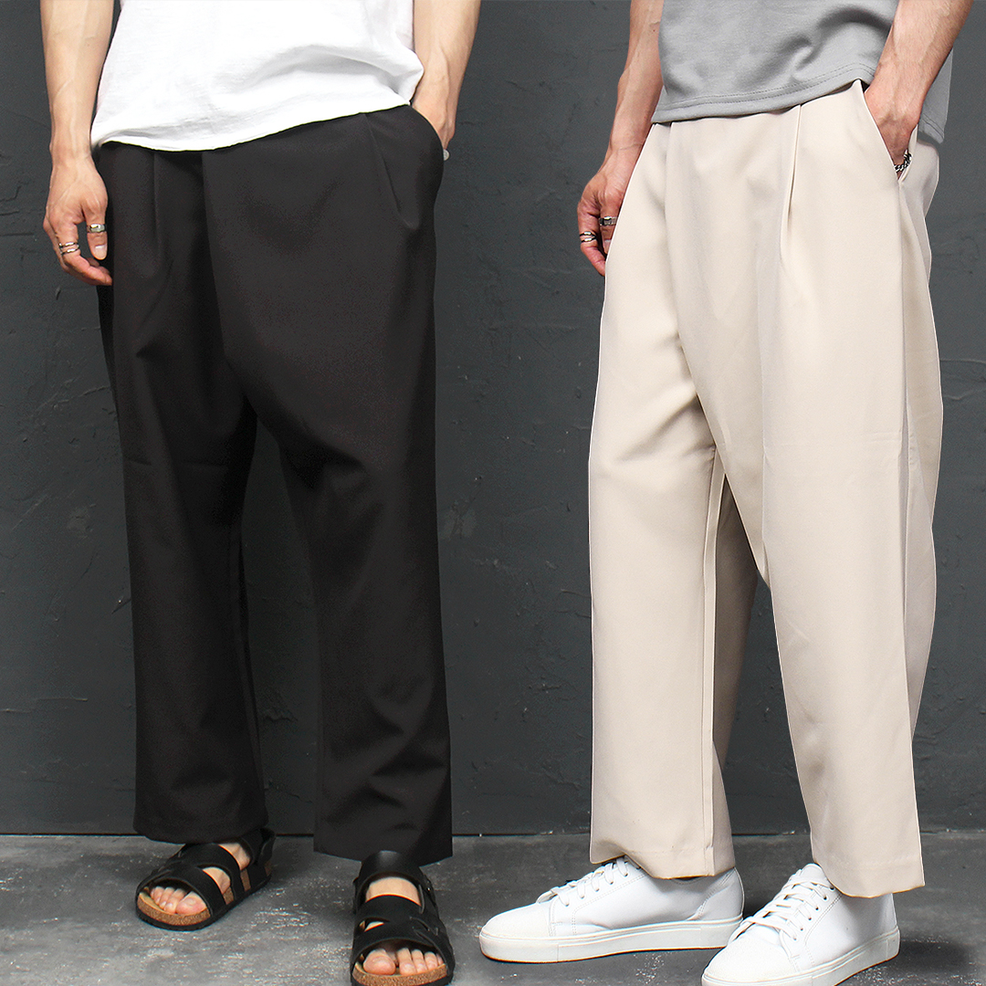 Diagonal Layered Wrap Baggy Slacks Pants 036