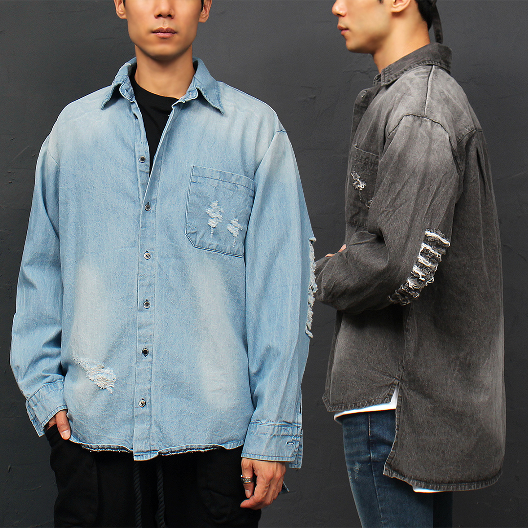 Vintage Distressed Damaged Unbalanced Long Back Hem Denim Shirt 049