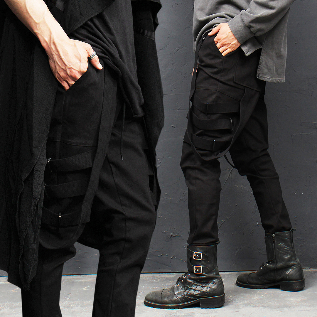 Techwear Webbing Strap Draped Jogger Pants 012