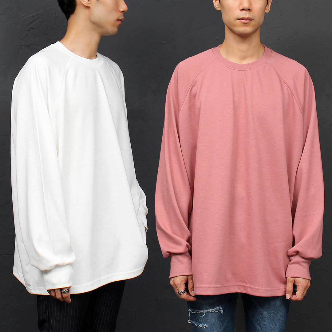 Ribbed Cuffs Raglan Long Boxy Tee 033