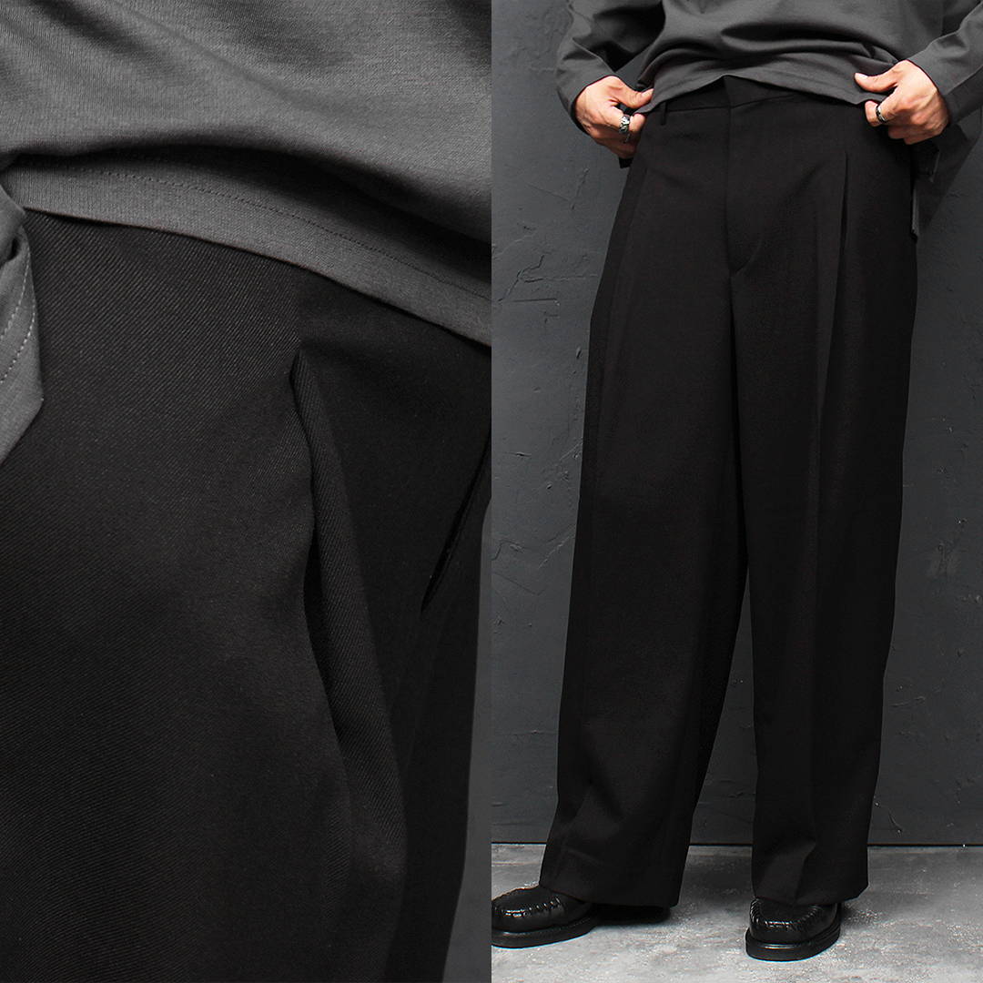 Loose Fit Front Pleated Wide Slacks Wool Pants 043