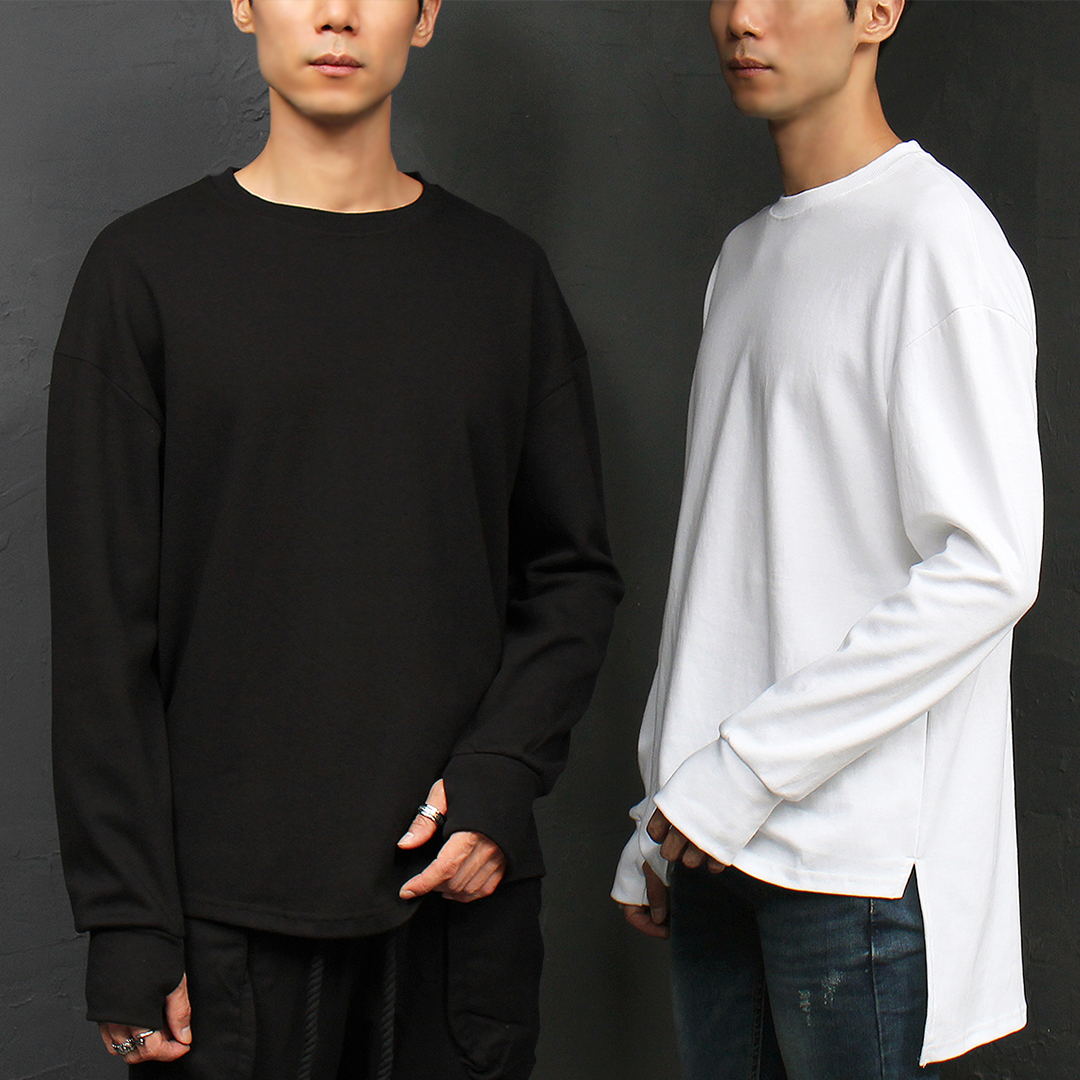 Unbalanced Hem Hand Warmer Boxy Long Sleeve Tee 031
