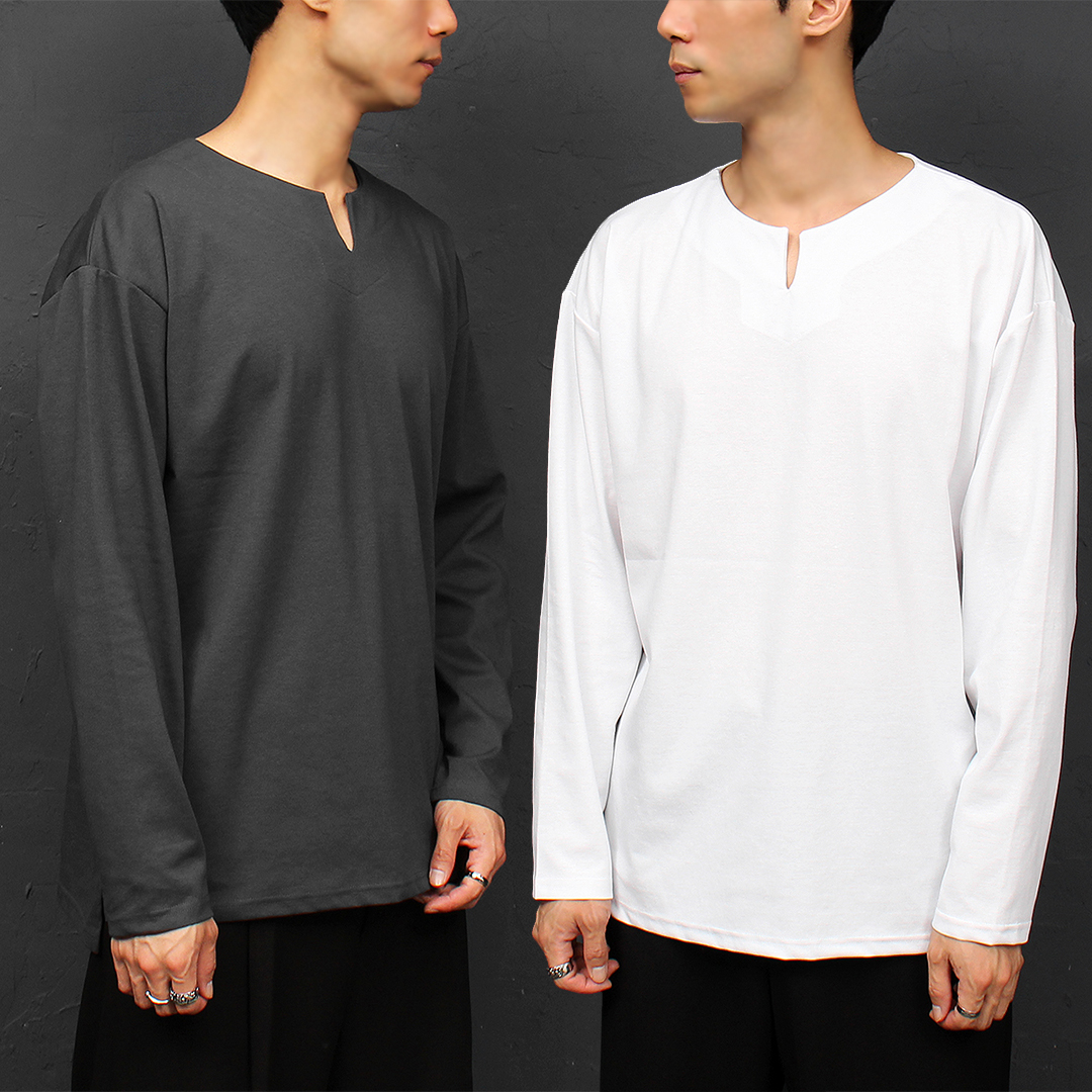 V Split Collar Unbalanced Split Hem Boxy Tee 041