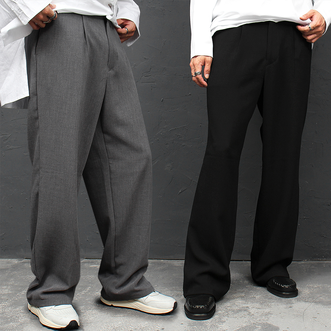 Loose Fit Elastic Waistband Wide Slacks Pants 044