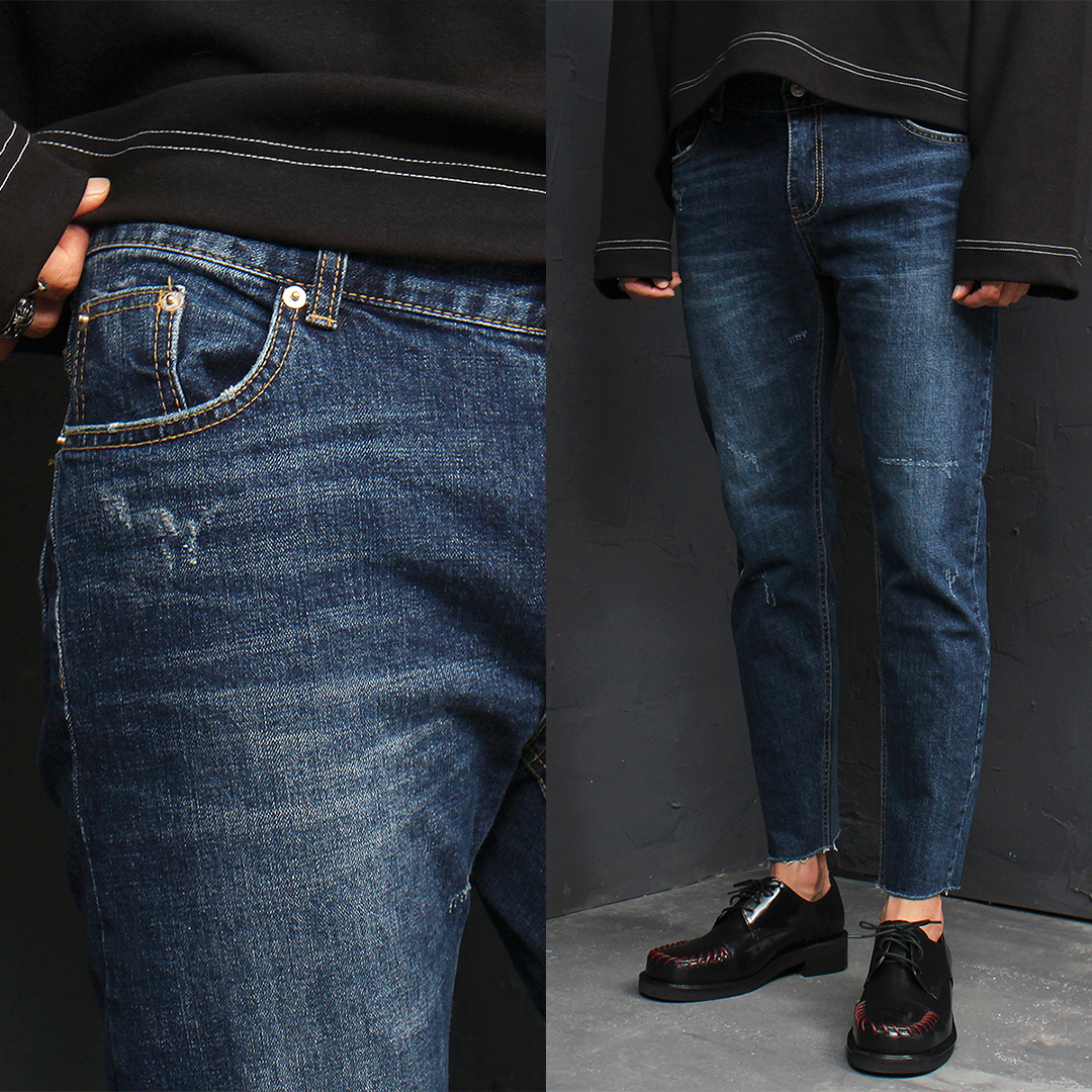 Cut Off Hem Vintage Dark Blue Skinny Jeans 088