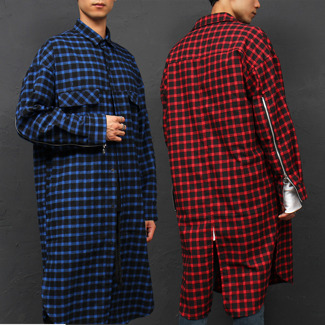 Checkered Pattern Zippered Cuffs Over Boxy Long Shirt 053