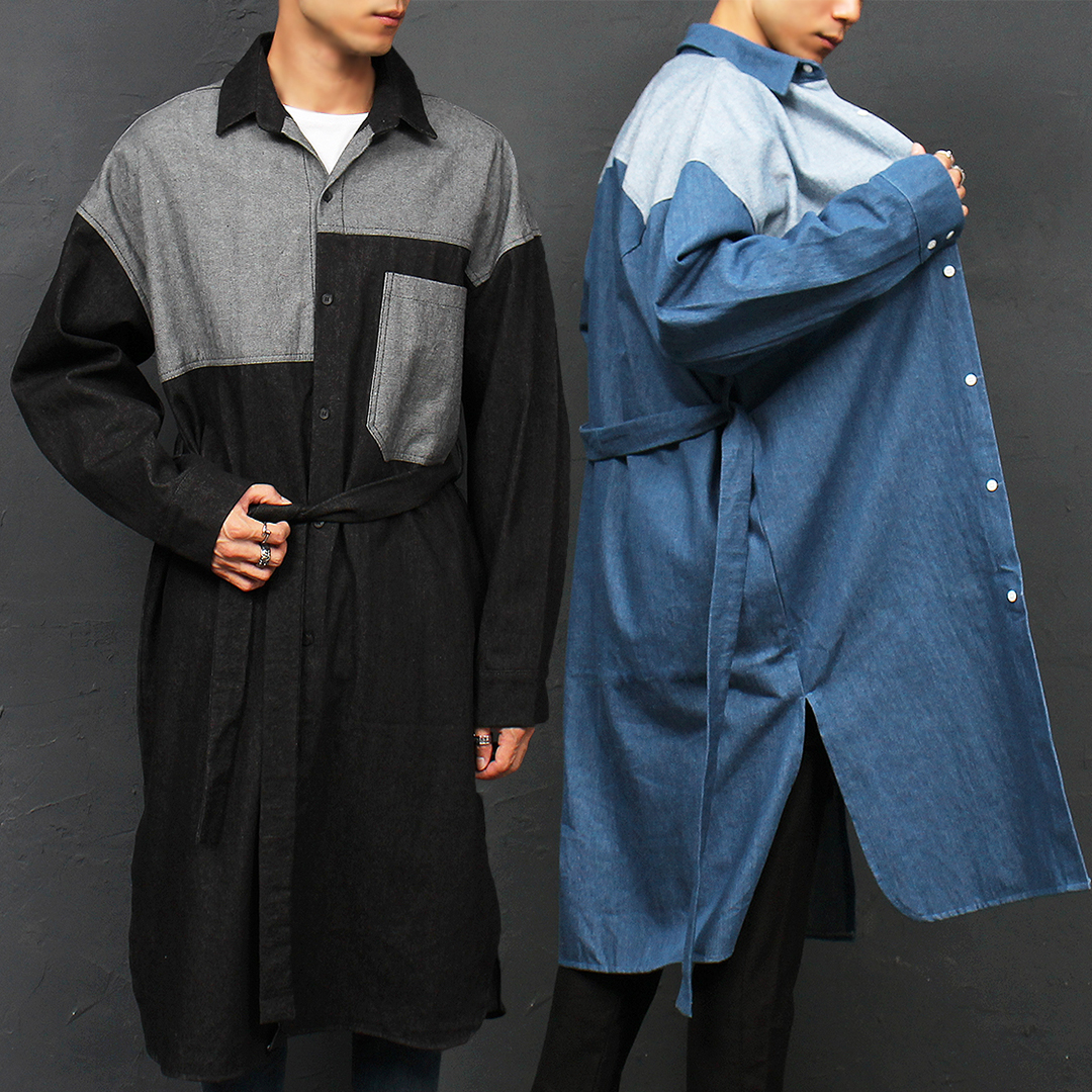 Contrast Denim Split Side Over Boxy Long Shirt 054