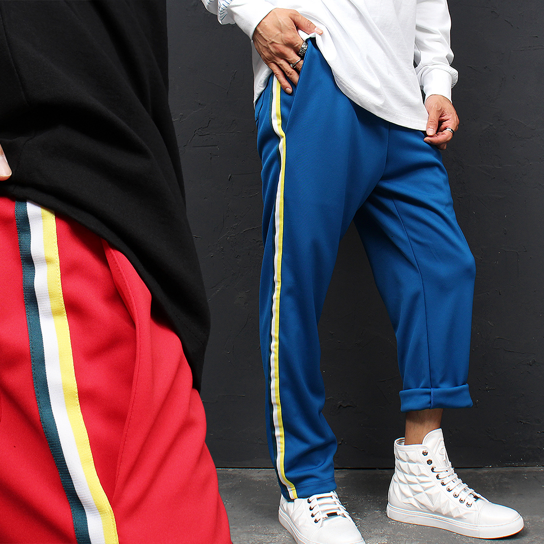 Contrast Color Side Line Jersey Sweatpants 101