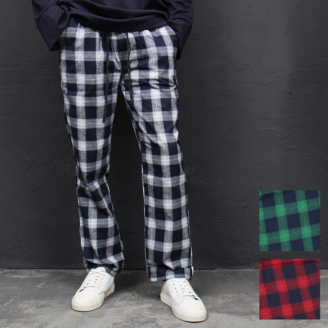 Color Checkered Pattern Elastic Waist Sweatpants 105