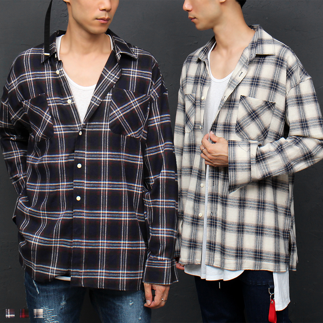 Loose Fit Split Side Checkered Boxy Shirt 062