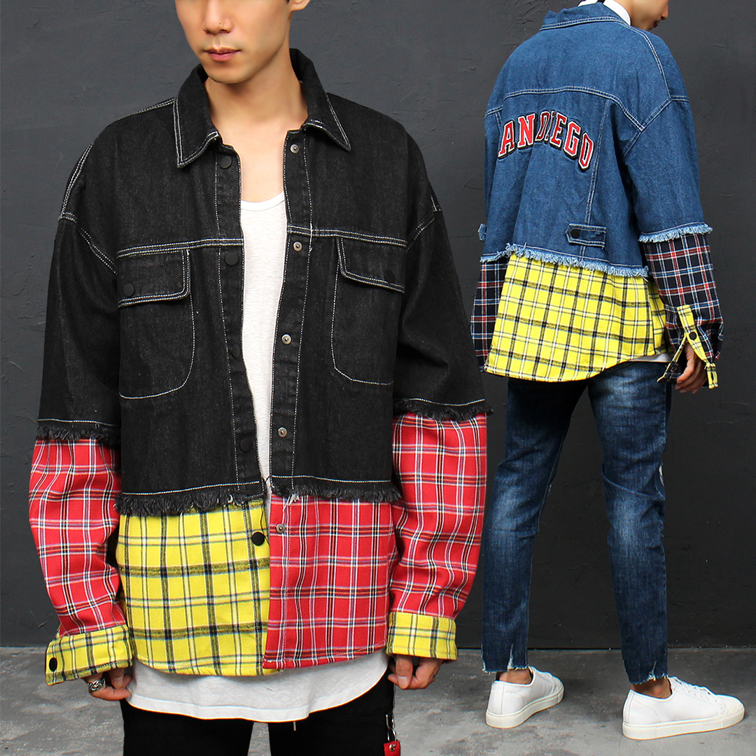 Check Shirt Layered Styling Denim Jacket 028