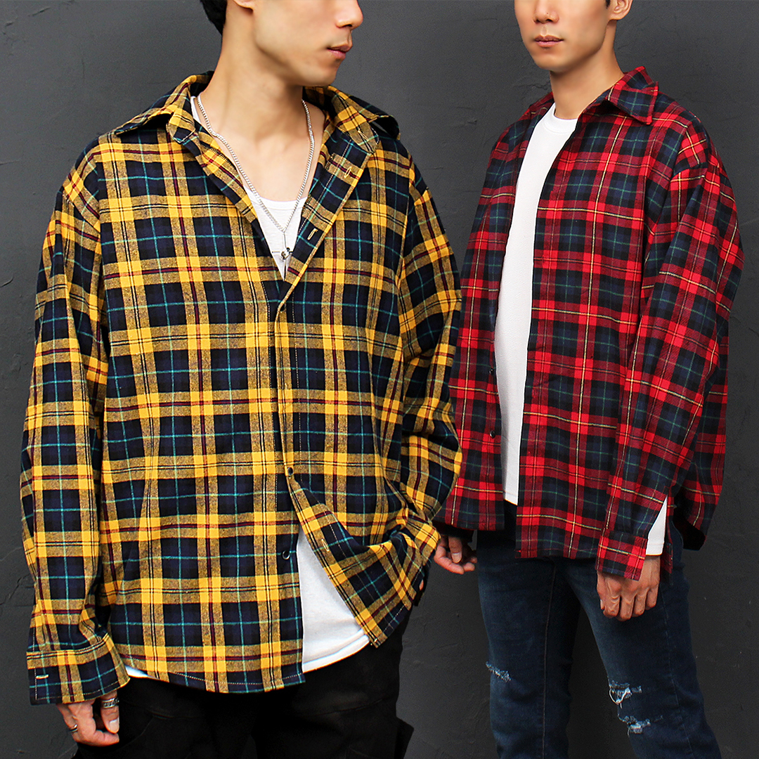 Street Fashion Checkered Boxy Shirt 059