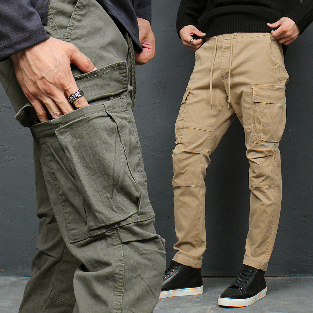 Knee Reinforced Cargo Pocket Elastic Waistband Pants 106