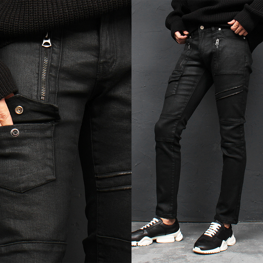 Wax Coating Zipper Black Biker Skinny Jeans 102