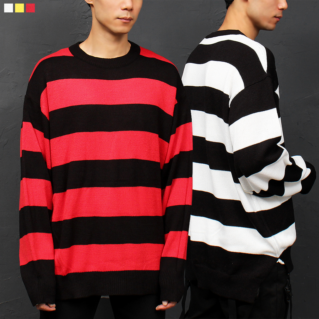 Striped Pattern Split Pattern Boxy Knit Sweatshirt 009